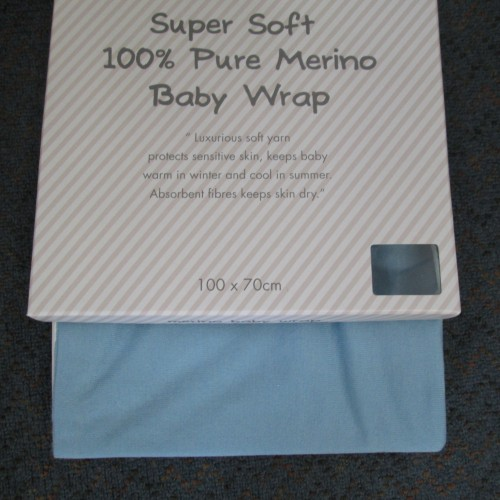 Super Soft 100% Merino Baby Wrap- Blue
