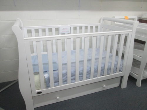 Cambridge White Sleigh Cot + FREE Draw