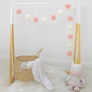Pom Pom Garland - Blush/White