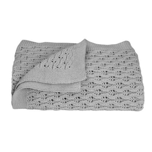 Lattice Baby Shawl/Blanket - Silver Grey