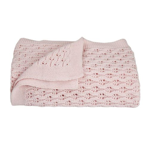 Lattice Baby Shawl/Blanket - Soft Pink