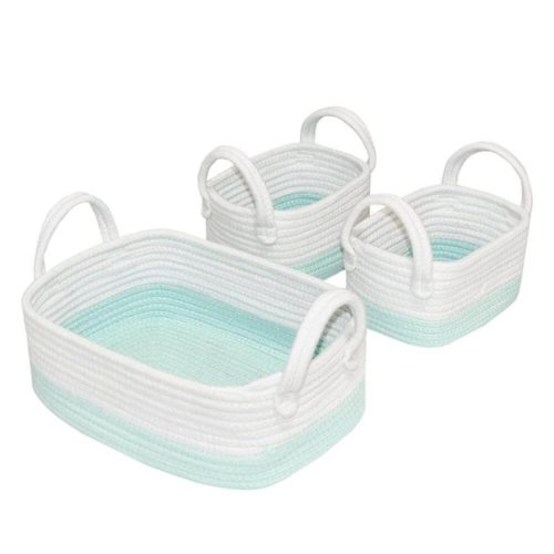3pc Storage Set - Aqua/White