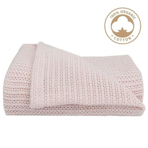 Organic Cotton Cot Cellular Blanket- Soft Rose