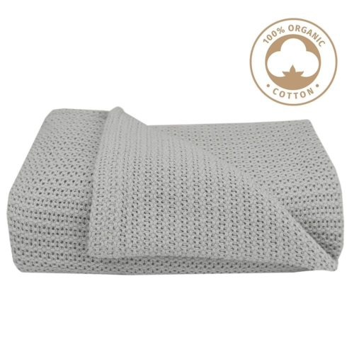 Organic Cotton Cot Cellular Blanket- Grey
