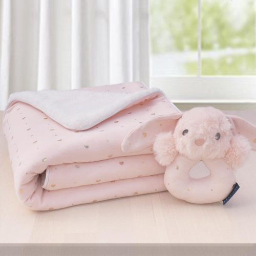 Sherpa Blanket and Rattle Gift Set- Pink Heart
