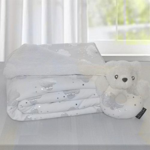 Sherpa Blanket and Rattle Gift Set- Silver Clouds