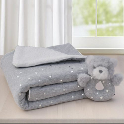 Sherpa Blanket and Rattle Gift Set- Silver Star