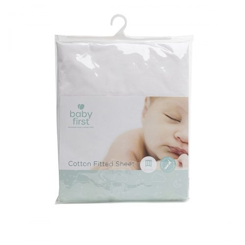 Cot Cotton Sheet - Fitted White