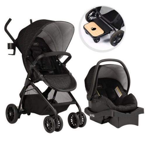 Evenflo Sibby Travel System with LiteMax 35 Infant Car Seat (Charcoal)
