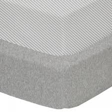 Living Textiles Cot Fitted Sheet 2pk - Grey/stripe